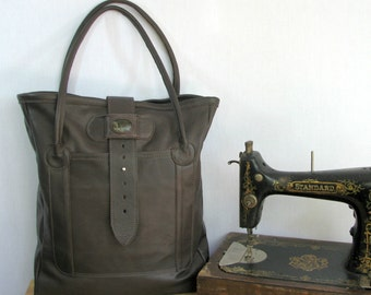 Extra Large Slouchy Leather Tote w Handsome Stone Accent - Soft Sumptuous Chocolate Brown Leather - Very Roomy w 3 Pockets - Ready to Ship