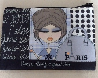 Makeup Bag  6x9 -  Paris is always a good idea.