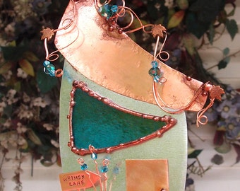 Whimsy Lane Fairy House Stained Glass Copper Steel Metal Wall Art Sculpture Home Garden Decor