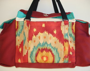 Deluxe Knitting/Crochet Tote Bag/Project Bag/Two Pocket Yarn Organizer/Handmade Tapestry Knitting Bag- KILAUEA