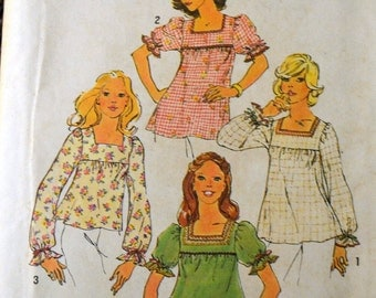 Vintage 1970's Sewing Pattern Simplicity 6900 Misses' Smock Tops Bust 31 Inches Complete UNCUT
