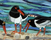 Oystercatchers Card - Blank Greetings Card - Mosaic Art - Birthday Card - Bird Card - Oystercatcher Print - Bird Art - Black and White Bird