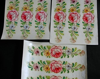 Large Sheets Vintage Meyercord Pink Roses and Flowers Decals Unused Crafts 3