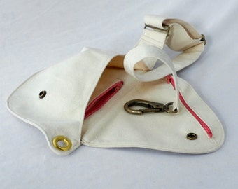Belt Bag - Cream Cotton Duck Fabric - Fanny Pack, Hip Bag, Bum Bag, White Bag, Festival Bag, Travel Bag, Summer Bag, Summer Fashion, Natural