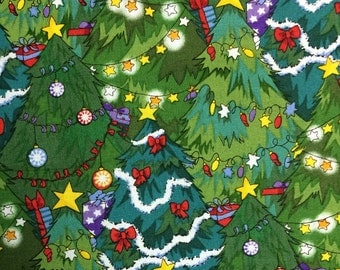 Christmas trees winter fabric - 2 3/4 yards