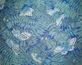 Pretty Butterfly Fabric Butterflies Blue Fabric Green Butterflies Ferns Navy Butterfly Material Cotton Fat Quarter Quilting Crafting Fabric