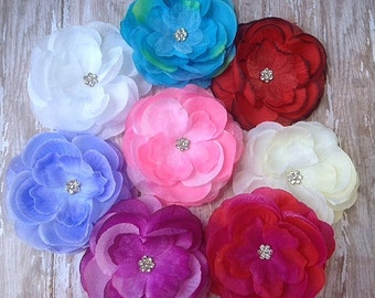SALE Rhinestone Hair Flowers for hair clips and baby headbands x 8