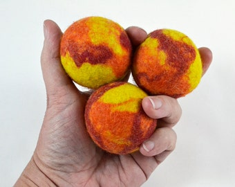 Juggling Balls in red, yellow and orange wool felt