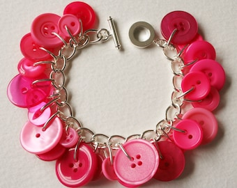 Button Bracelet Bright Pink Mix