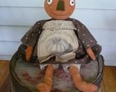 Primitive pumpkin Halloween doll