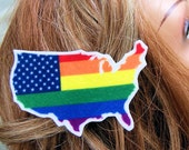 Gay Pride USA Map Flag Rainbow Hair Clip MTCoffinz