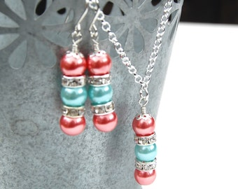 Aqua and Coral Rose Wedding Jewelry Set, Bridesmaid Jewelry, Pearl Rhinestone Necklace and Earrings Set, Summer Wedding Jewelry