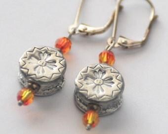 Autumn Tribal Earrings, Boho Silver Earrings, Orange Earrings, Flower Earrings, Primitive Horse, Crystal Jewelry SRAJD JewelryFineAndDandy