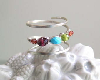 Colorful Silver Wraparound Ring, Gemstone Wire Wrapped Ring, Turquoise, Sapphire, Spinel, Hand Wrought, Original Design, Signature, Size 7