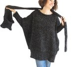 NEW! Tweed Black Over Size Sweater with Pocket Scarf by AFRA Sweater - Scarf Set Plus Size