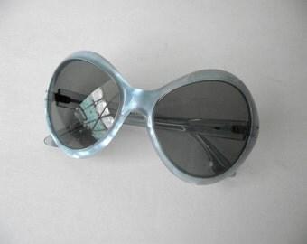 Vintage HUGE Fench Bug Eye Sunglasses Blue Opal