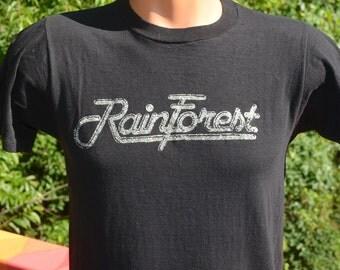 vintage 70s t-shirt RAINFOREST rain forest glitter soft thin black tee shirt Medium Small sparkly wtf