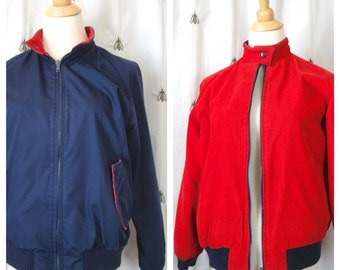 Vintage Women's Navy Blue and Red Reversible Jacket, Size Medium, The Eagle's Eye