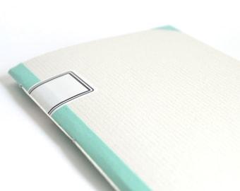 Mint & Pale Grey Softcover Notebook, No-Nonsense Quick Notes Journal, Light Grey Journal, Small Handbound Notebook