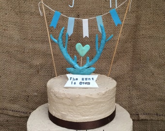 The Hunt is over Turquoise Antler cake topper Banner and Paper Flag Bunting for your Rustic Country Wedding