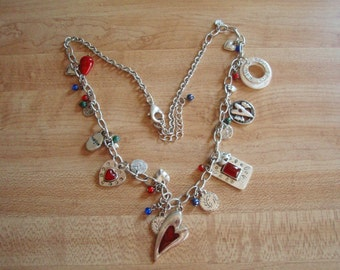 Charm Necklace, silver with red