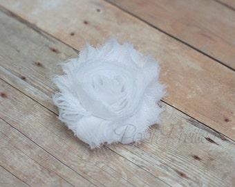 White Shabby Flower Hair Clip // White Rosette Hair Clippie // White Flower Chiffon Hair Accessory // Photo Prop //  Snow White Hair Clip