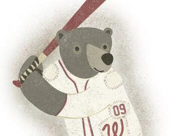 Baseball Bear - 8x10 Print