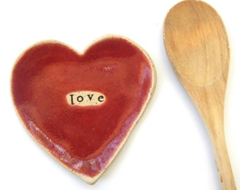 Made to order - LOVE-  Ceramic Heart  - Dish - Spoon Rest - Soap dish - Jewelry Holder- Red-