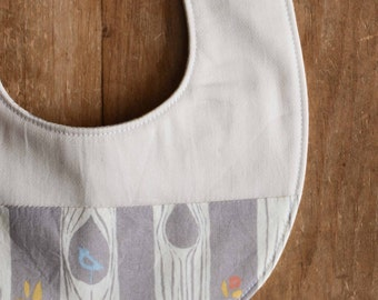 Organic Baby Bib in TREE STRIPES GREY; New Baby Gray Woodland Bib, Gift by Organic Quilt Company