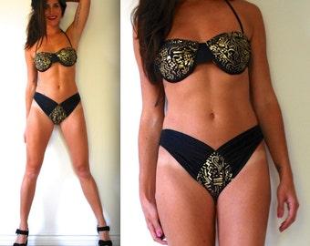 Vintage 70s 80s Black and Gold Metallic Bikini (size medium)