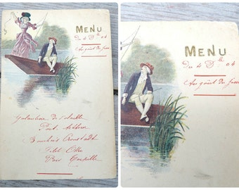 Vintage Antique 1904 French  paper hand written Menu  Au gout du Jour