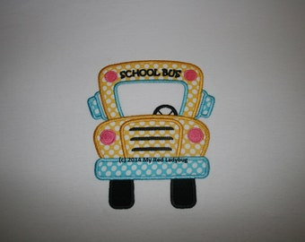 School Bus Personalized Applique Girl Shirt