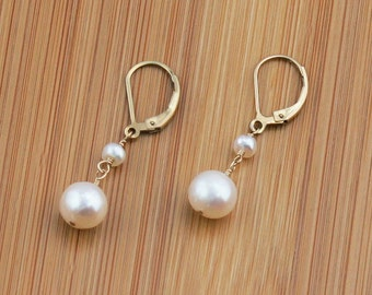 Pearl Drop Earring, Freshwater Pearl Earring, June Birthstone, Unique Gifts for Her, Pearl Drop Earring, Rose Gold or Gold Filled Leverback