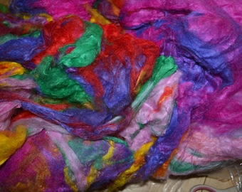 Sari Silk Spinning and Felting Fiber-1 oz colors separated