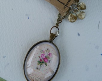 Jewelry, Necklace, Vintage, Bird, Mixed Media, Bezel - Floral