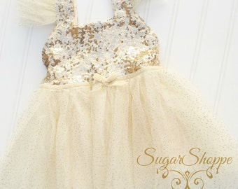 Ivory Chiffon and Gold Sequin Girls Dress, Birthday Outfit, Smash the Cake, Ivory and Gold Dress, Ready To Ship, Flower Girl, First Birthday