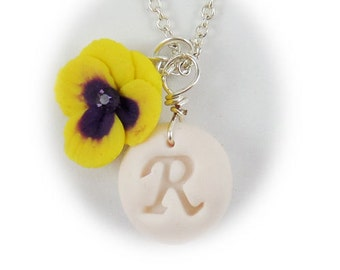 Personalized Pansy Initial Necklace - Pansy Jewelry