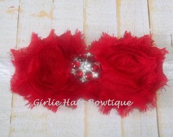 Patriotic Red Flower Headband Red Shabby Chic Flower Headband Red Rhinestone Flower White FOE Headband Wedding Flower Girl Baby Headband