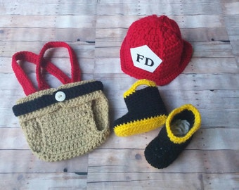 Firefighter Helmet, boots, Diaper cover, Fireman Set , Fireman outfit,Firefighter Outfit,Photo prop, Newborn - infant