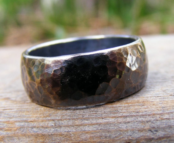 Sterling Silver Wide Wedding Engagement Ring Band, Oxidizid, Rustic, Hammered,  Mens Or Womens Unisex Jewelry, Handcrafted