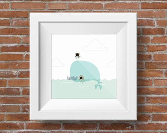 Sophisticated : Whale with Moustache - 12 x 12 Giclee print, Illustrated Childrens Artwork, Nursery Decor