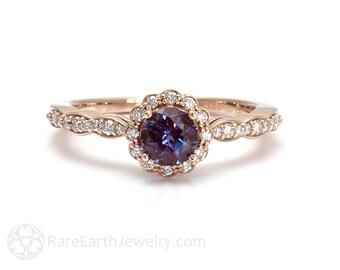 Alexandrite Ring Alexandrite Engagement Ring Diamond Halo June Birthstone 14K or 18K Gold Color Change Gemstone Ring
