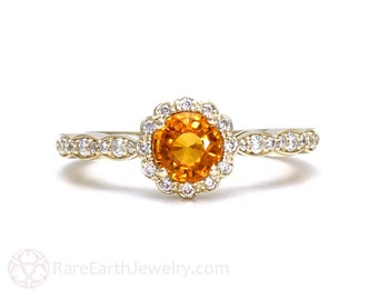 Orange Sapphire Ring Sapphire Engagement Ring 14K or 18K Gold Orange Gemstone Ring Unique Engagement
