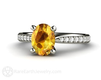 Yellow Sapphire Engagement Ring Oval Sapphire Solitaire with Conflict Free Diamonds 14K Gold Gemstone Ring