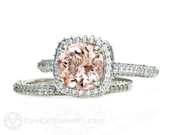 Palladium Morganite Wedding Set Diamond Halo Morganite Engagement Ring Custom Bridal Set