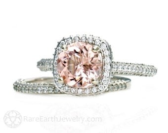 Morganite Engagement Ring Diamond Halo Wedding Set Handmade Engagement Peach Gemstone Ring