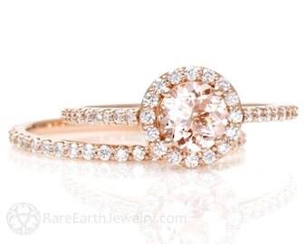 Morganite Engagement Ring Diamond Halo Wedding Ring Rose Gold Custom Bridal Set