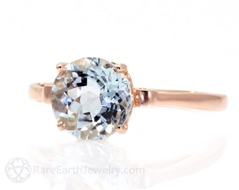 Aquamarine Ring Fleur de Lis 14K White Yellow Rose Gold March Birthstone Ring Gemstone Ring