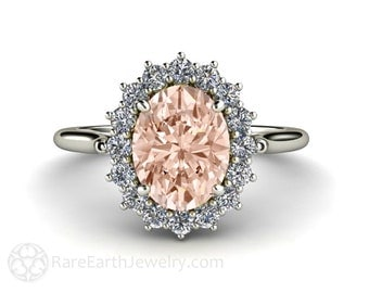 Morganite Ring Diamond Halo Engagement Ring Oval Cluster 14K or 18K Rose Gold Wedding Ring Pink Gemstone Ring