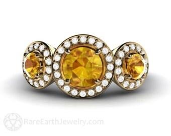 3 Stone Yellow Sapphire Engagement Ring Three Stone Sapphire Ring Diamond Halo 14K or 18K Gold Custom Gemstone Ring